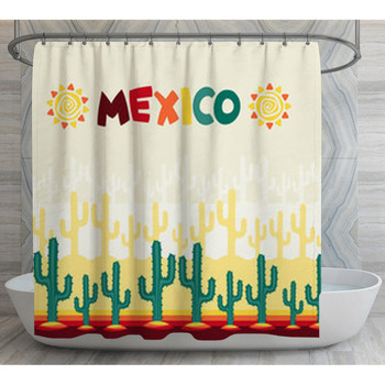 mexican seamless pattern with cactus in shower curtain