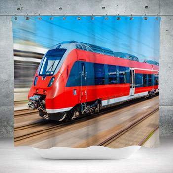 modern high speed train custom size shower curtain