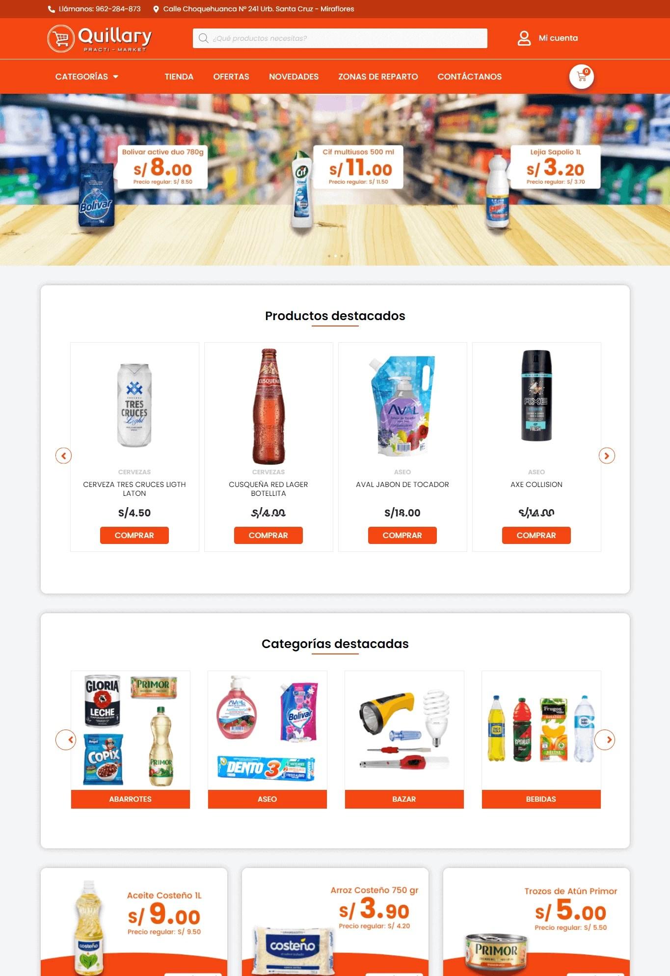 Página Web de Quillary Practi-Market