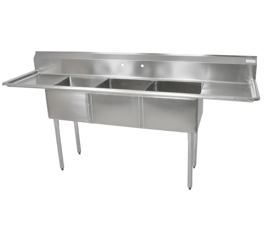 john boos e3s8 18 14t18 90 stainless steel 3 compartment sink no faucet vision equipment