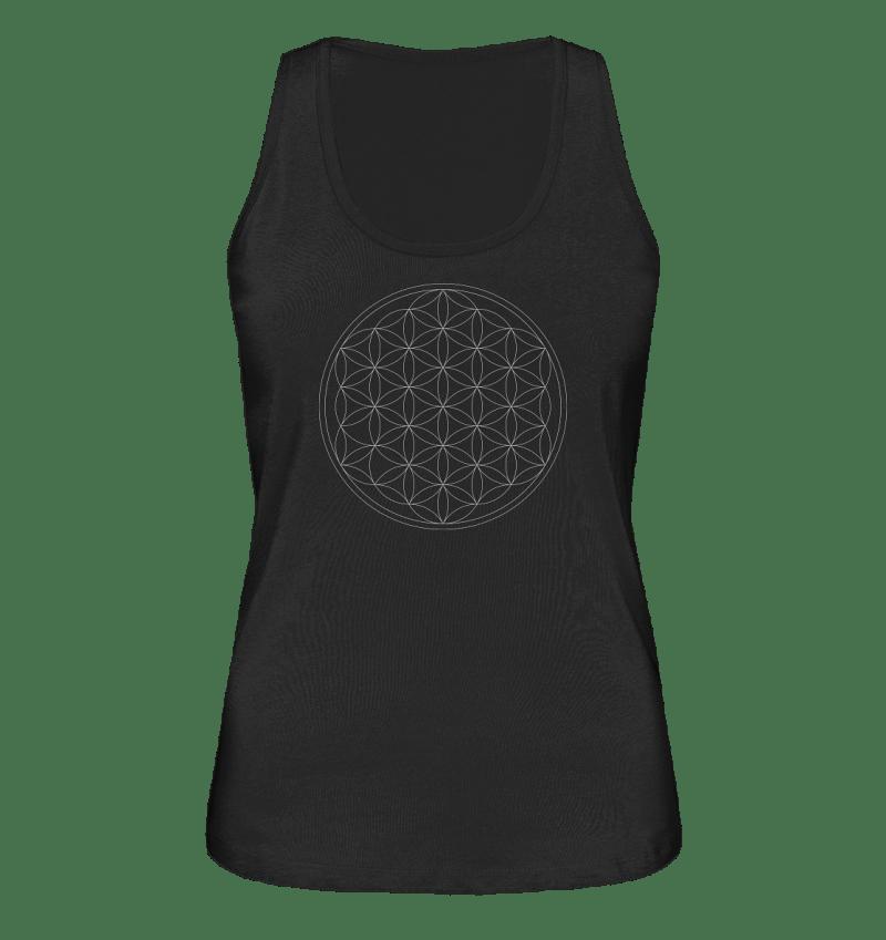 Blume des Lebens-Tank top für Damen in schwarz.