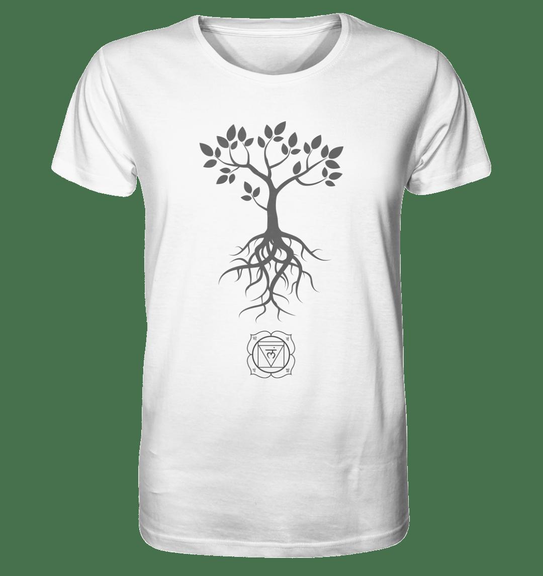 Wurzelchakra Motiv auf einem bio baumwoll Herren Shirt