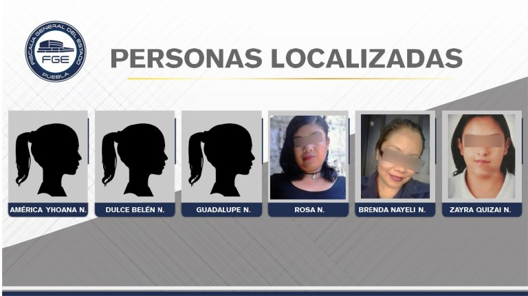FGE PUEBLA LOCALIZÓ A SEIS MUJERES REPORTADAS COMO DESAPARECIDAS
