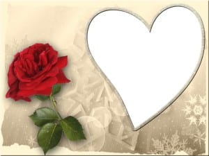 Valentine image with red rose and white heart