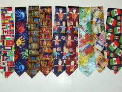 Burgundy Polyester Tie with Books.-0