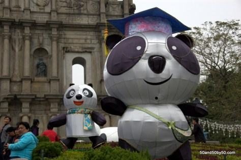Graduate Panda at the Ruins of the Church of St Paul on my Macau day trip