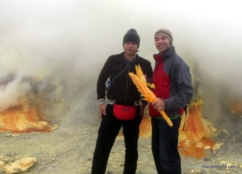 Holding sulfur at Kawah Ijen volcano | Java, Indonesia