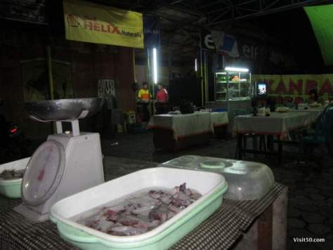 Scale for our Indonesian BBQ fish in Ijen Indonesia in Java