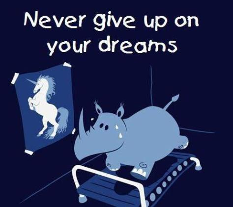 cartoon - never give up - Tread lightlly. But horn in on your goals