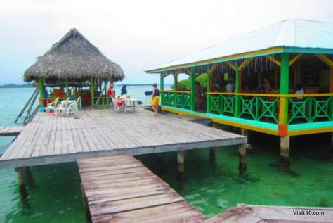 Most of the restaurants have seating either overlooking the water or on a deck in Bocas del Toro