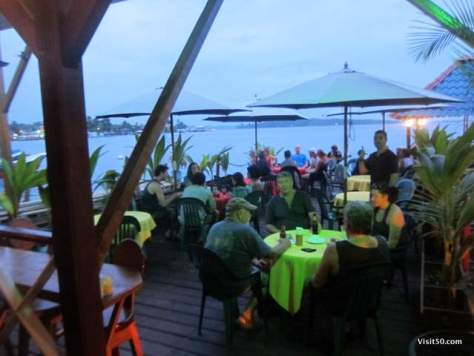 Meals are right on the water in Bocas del Toro. Yes! Delicious food while while island hopping in Bocas del Toro Panama