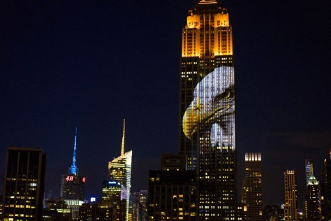 bald eagle projected on the ESB nyc