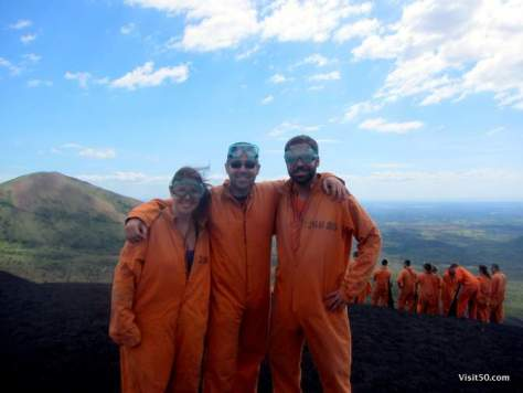 wearing orange on the top of Cerro Negro before Volcano Boarding Nicaragua!