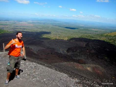 At the top of Cerro Negro in Leon Nicaragua. You can see where the lava wiped out everything in its path