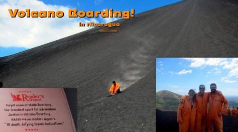 Sledding down the volcano in Nicaragua, in Leon, Cerro Negro