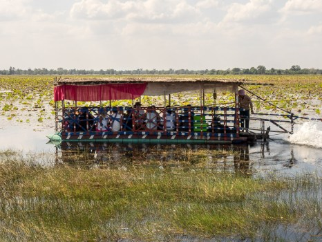 Taking a boat ride on the baray