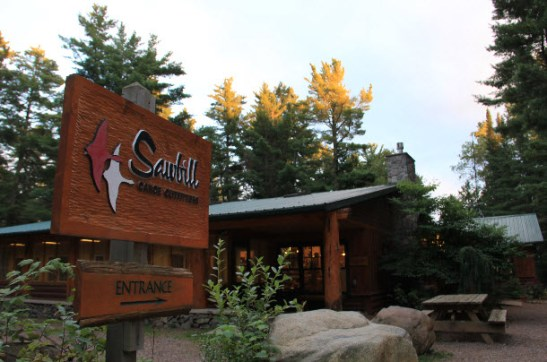 sawbill canoe outfitters & campground sign