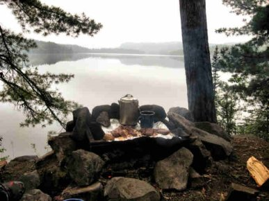 Bearskin Lodge & Outfitters campfire cooking
