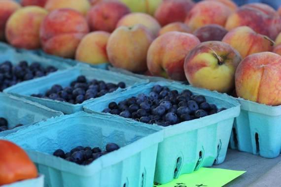 blueberries, peaches