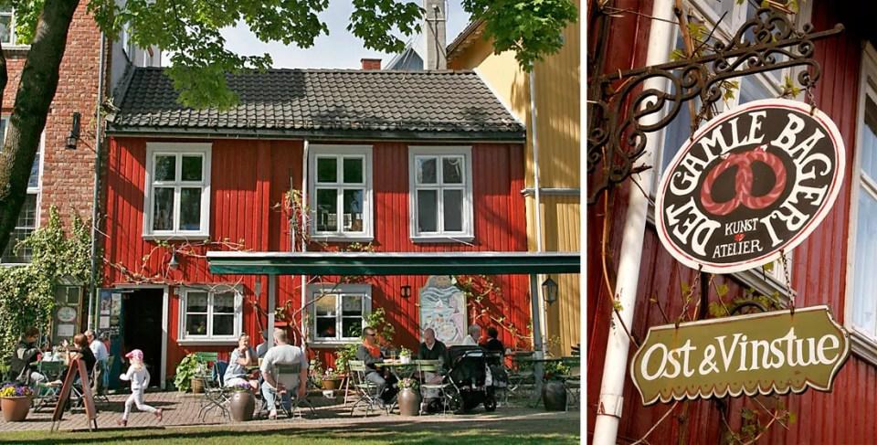 Det Gamle Bageri har uteservering i nedkant av torget og et lunt og rustikt interiør.