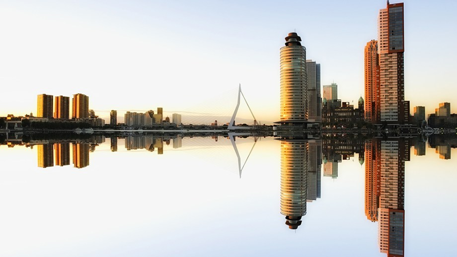 Skyline of the port harbour city Rotterdam in The Netherlands
