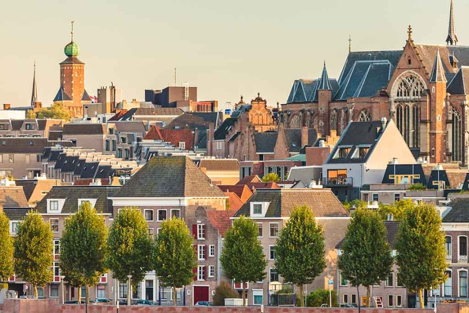 Ancient Dutch houses and church in the city center of Nijmegen