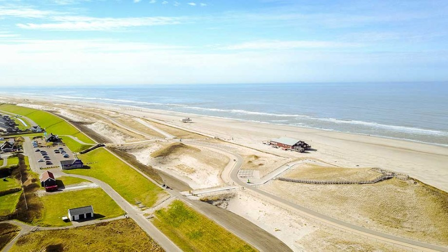 The beach of Petten in Noord- Holland, The Netherlands with a view of the dunes, dike and North Sea
