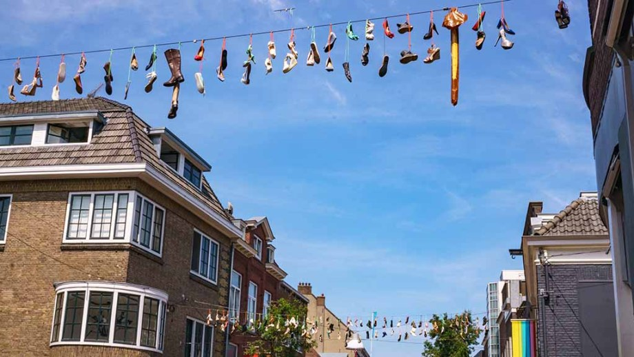 Shoes on a rope in the city of Nijmegen during the International Four Days March in The Netherlands