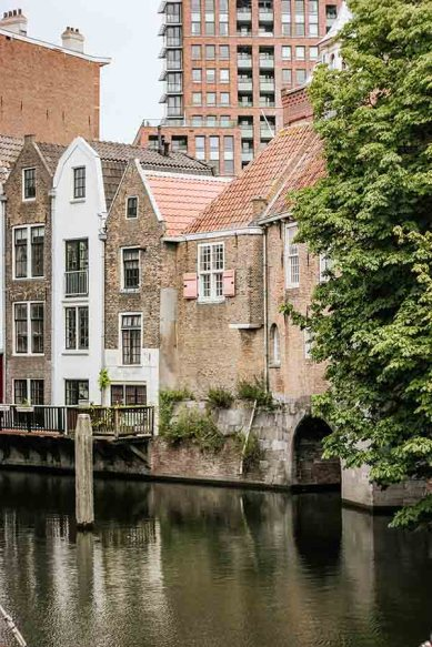 Old buildings and houses in the Delfshaven area of Rotterdam, The Netherlands