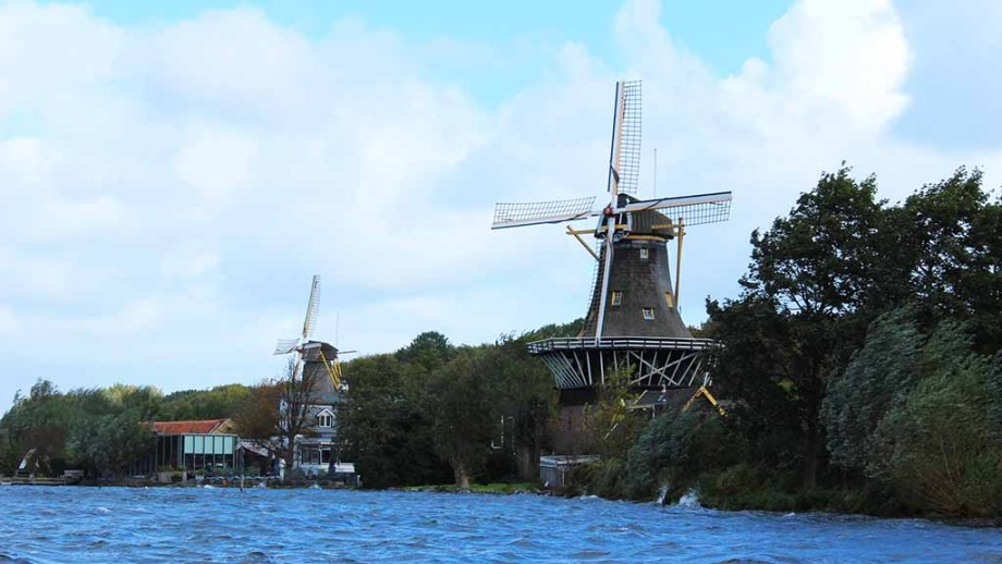 Windmills De Ster & De Lelie at the edge of the Kralingse forest and lake in Rotterdam