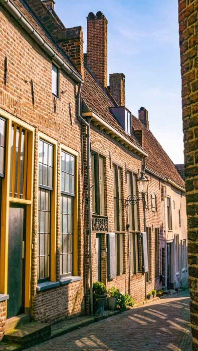 Beautiful buildings and old Dutch houses in Hanseatic city town of Deventer, The Netherlands