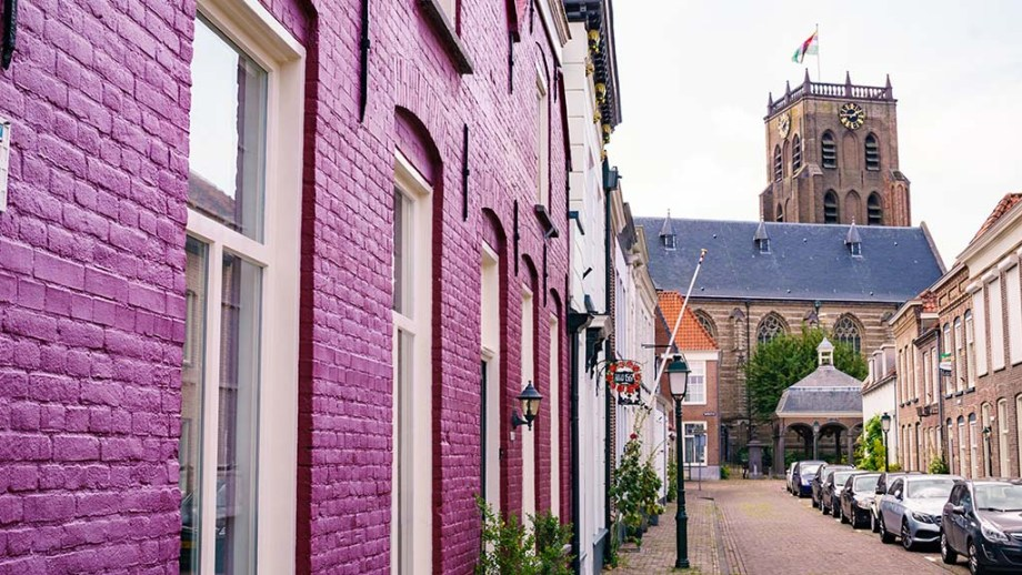 The view from one of the most beautiful streets at the main church in the fortified town of Geertruidenberg, Noord (North)- Brabant, The Netherlands. It's one of the things to do and see in Geertruidenberg.