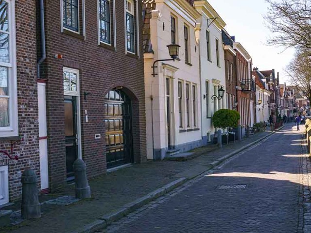 A cobblestoned street in the town of Muiden, The Netherlands