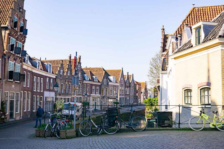 view on a canal and canal houses in the Dutch town of Oudewater, The Netherlands