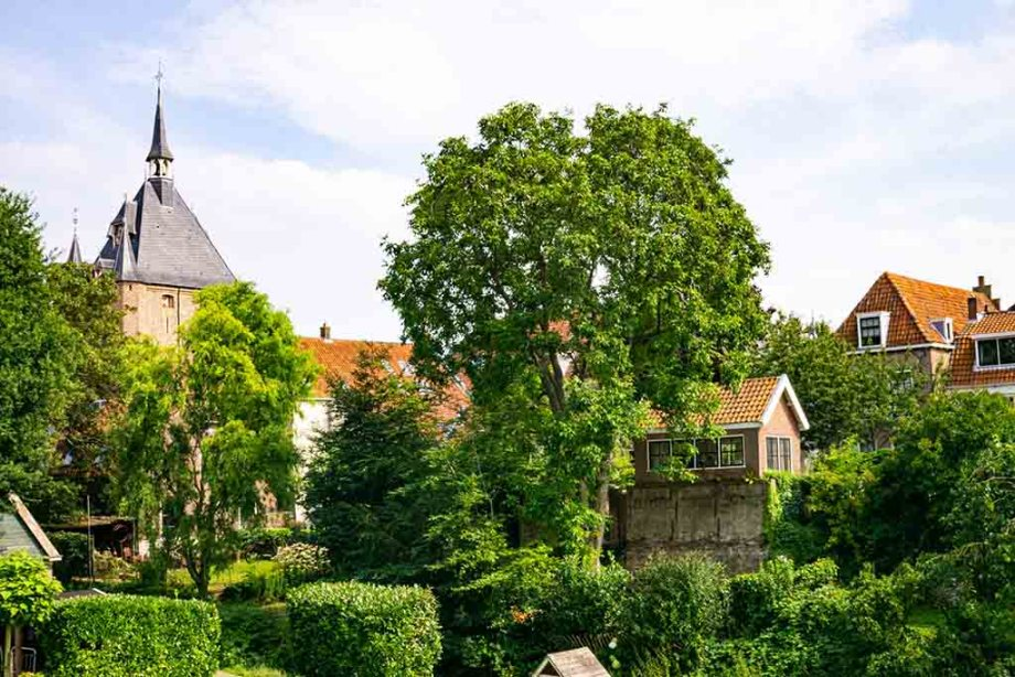 view on gardens en the old city wall in the town of Vianen, The Netherlands