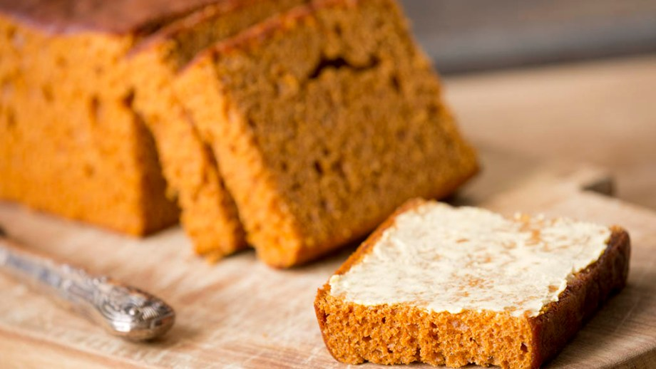 Slices of 'ontbijtkoek', traditional Dutch spice bread, with butter.