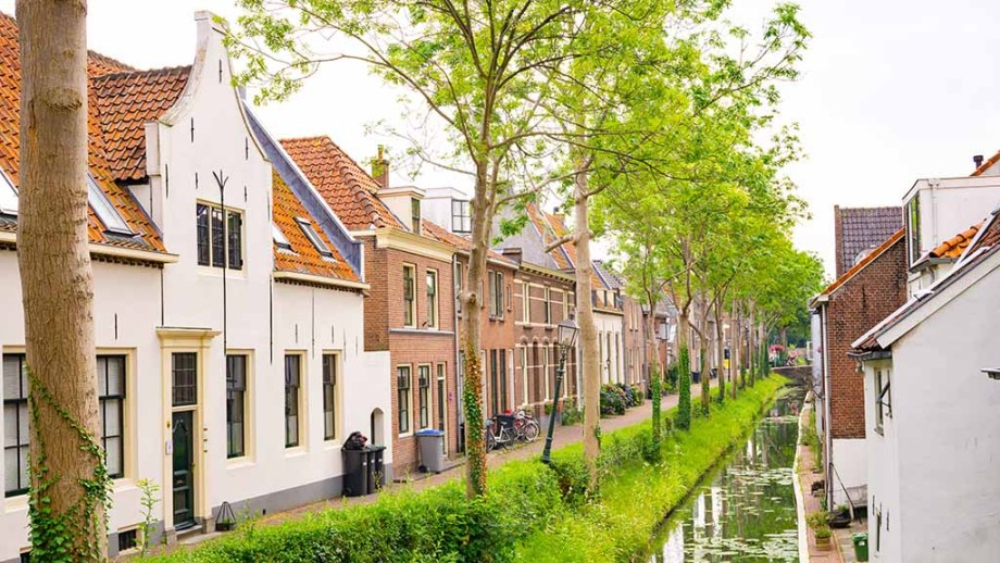 view on canal houses and a river in the town of IJsselstein, The Netherlands