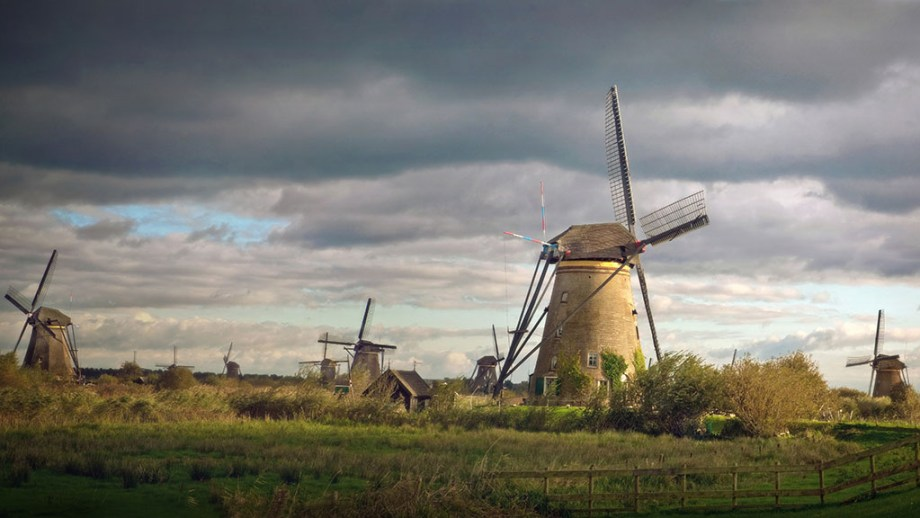 A view on the historic windmills of Kinderdijk in The Netherlands