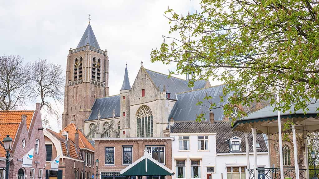 A view on the town centre of Tholen and its main square and church in Zeeland, The Netherlands