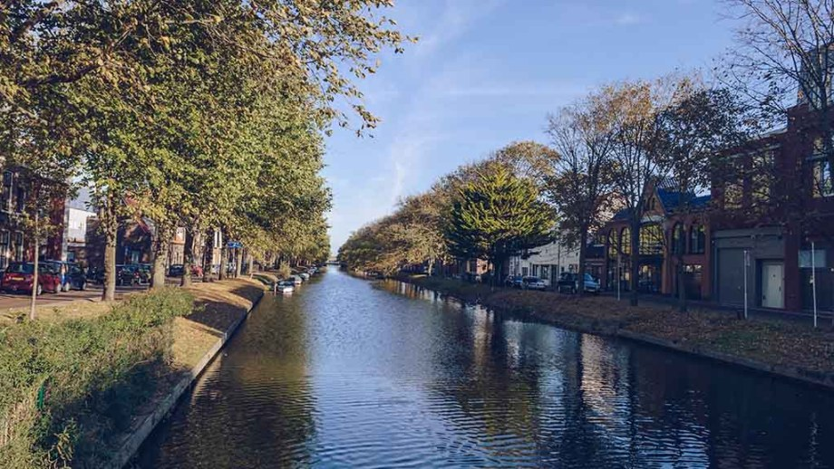 View of canal and cityscape of Den Helder on saturday sunny morning