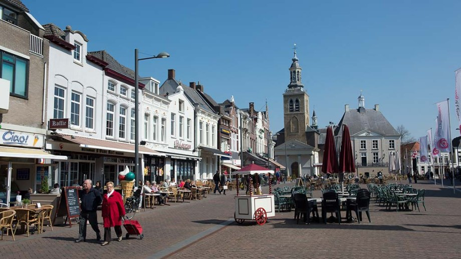 View on the main square and old historic buildings in the city of Roosendaal, The Netherlands
