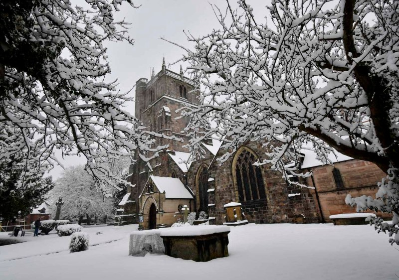 snow at St Oswald's Church