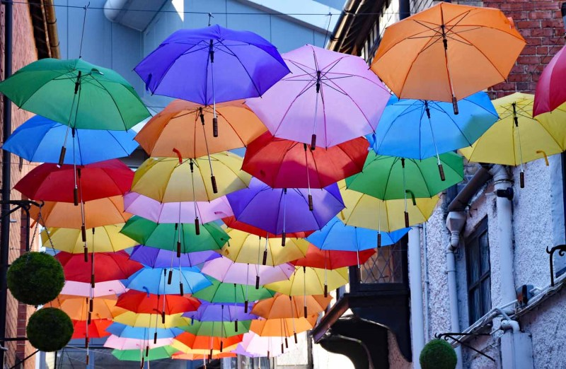 Colourful Umbrellas in Oswestry