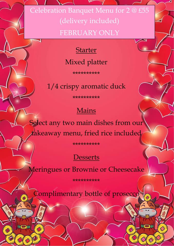 R and R Valentines Menu Oswestry Food and Drink