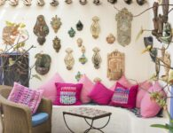 Pillows painted by Giovanna Palimodde in the acquasantiere corner at Hotel Su Gologone in Oliena