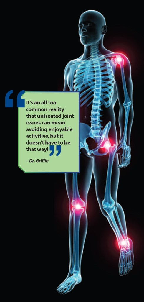 """It's an all to common reality that untreated joint issues can mean avoiding enjoyable activities, but it doesn't have to be that way!"" - Dr. Griffin"