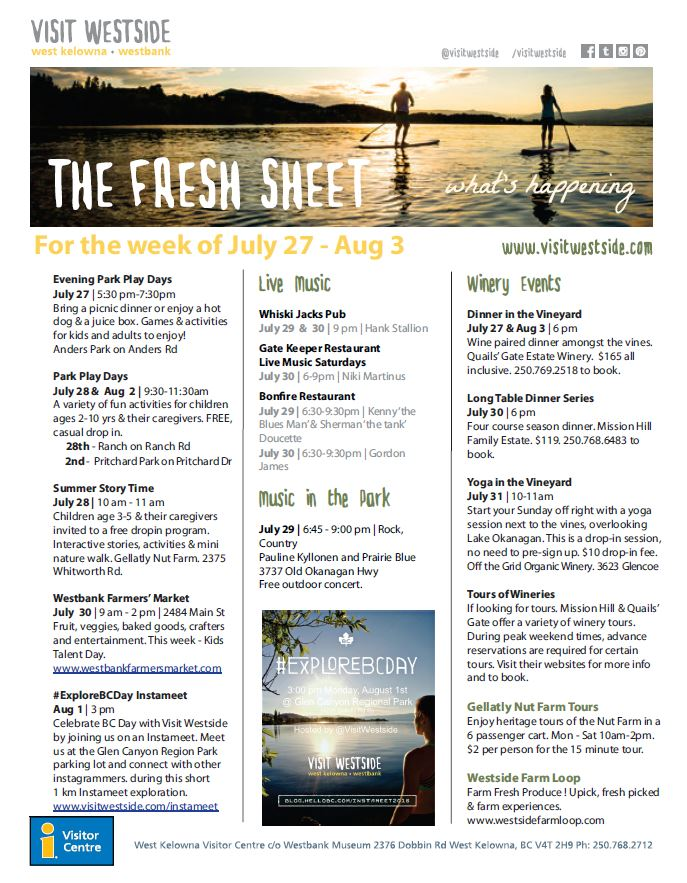 Fresh Sheet - July 27- Aug 3