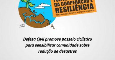 Defesa Civil promove passeio ciclístico para sensibilizar comunidade sobre redução de desastres