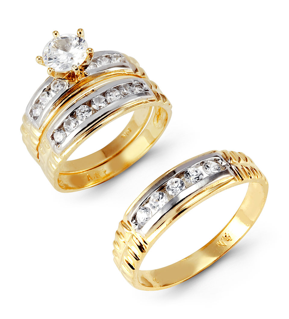 14k White Yellow Gold Round Cubic Zirconia Wedding Set Trio Sets Bridal Jewelry