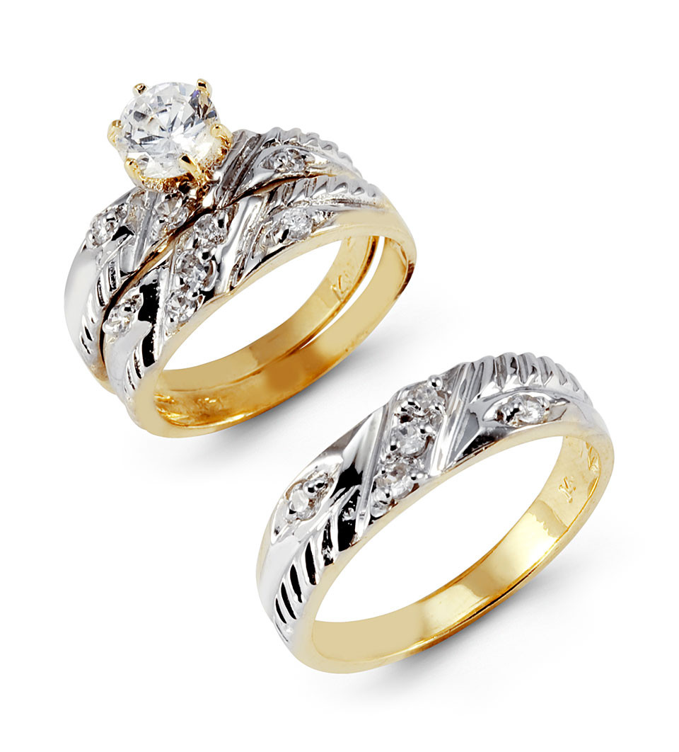 Laser Cut Yellow White 14k Gold Round CZ Wedding Bands